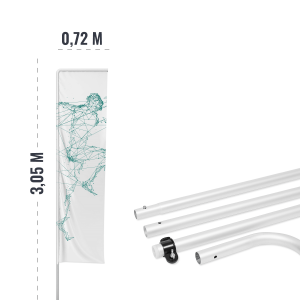 Maszt aluminiowy 3,05 m do flag reklamowych - AxOx Media